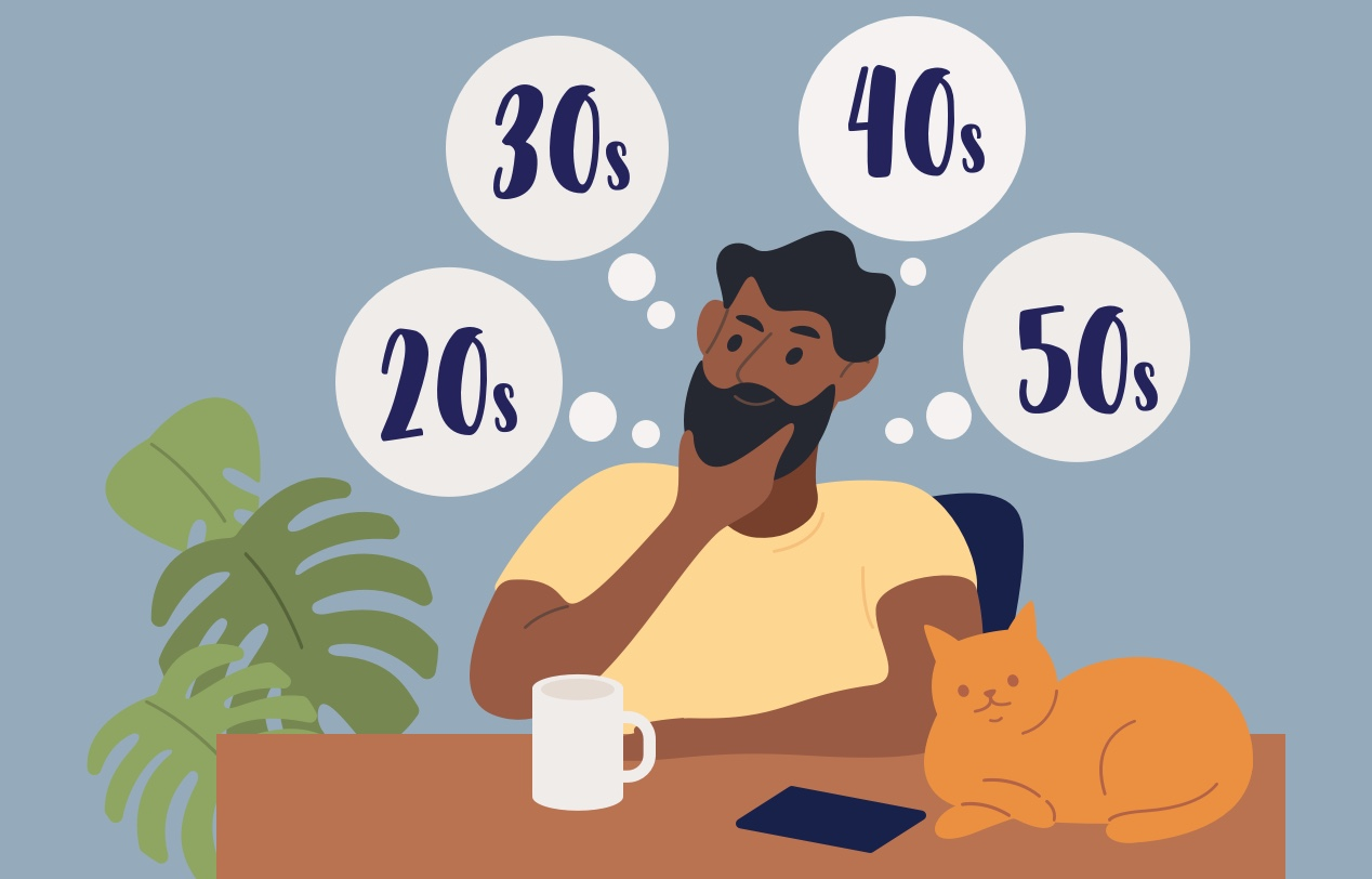 Ilustration of a man sitting at a desk with a cat