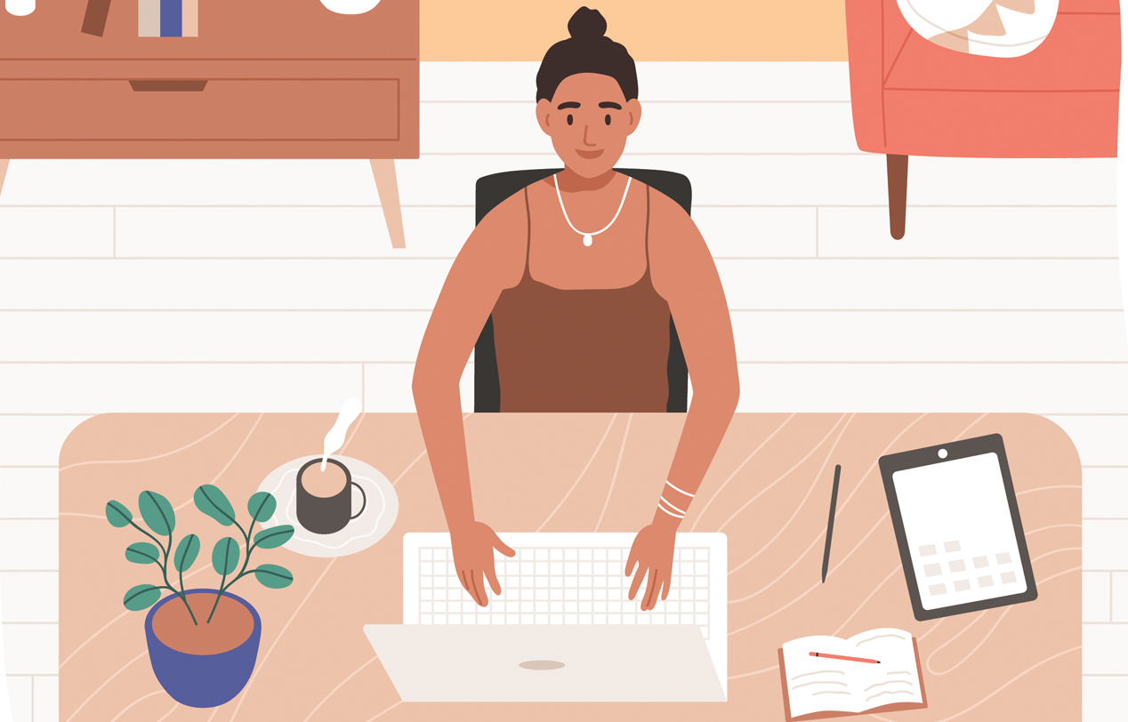 Illustration of a lady sat at her desk working