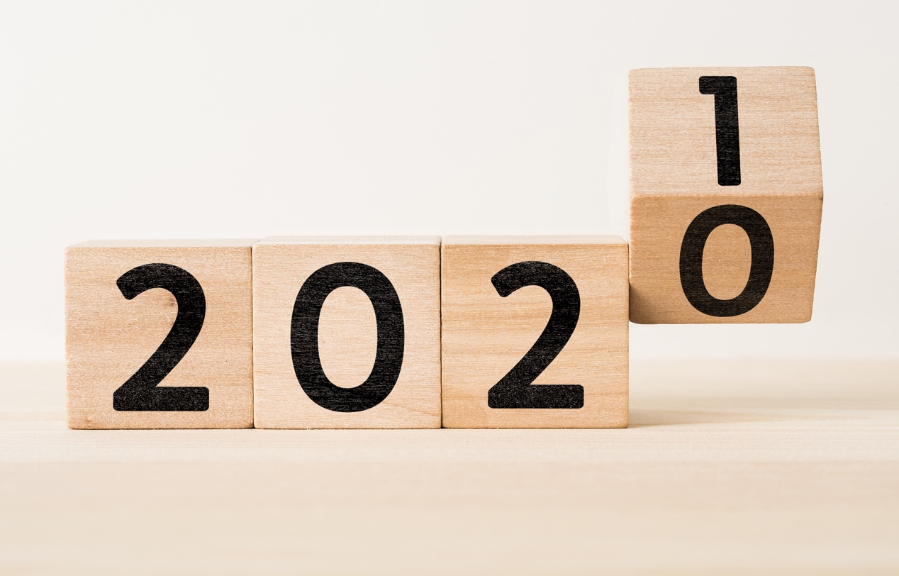 Wooden blocks spell out the year: 2020